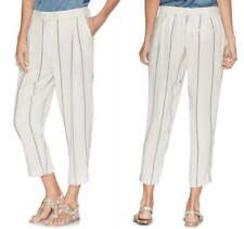 Vince Camuto Stripe Crop Pants 12 Large Ivory Striped Relaxed Fit Stretch Back