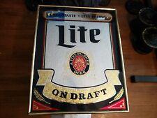 Advertising Bar Mirror Sign Miller Lite - Great Taste Less Filling On Draft
