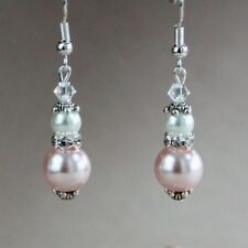 Vintage blush pink white pearl silver drop earrings wedding bridesmaid accessory