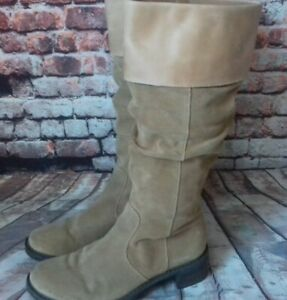 clarks light brown suede/leather upper boots size 6.5d