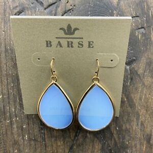 Barse Opalescent Glass Oval Earrings- Bronze- NWT