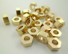 30pcs 6x3mm Raw Brass Hexagon Geometry Beads Spacers Large Hole Gold Tone Cord