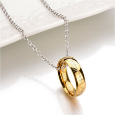 Gold Plated Lord of the Rings Necklace The One Ring LOTR Real Link Chain Pendant