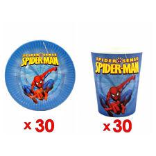 30pcs Spider Man Paper Plate & 30pcs Cup Tableware Set Decoration Party Supplies