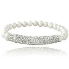 White Freshwater Cultured Pearl & Crystal Bar Stretch Bracelet