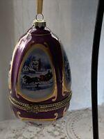 Vintage Mr. Christmas Egg Shaped Porcelain Musical Ornament - FREE SHIPPING