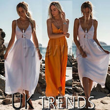 UK Women Tie Front Strappy Ladies Holiday Summer Beach Long Maxi Dress Size 6-14