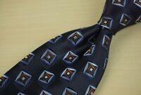 Ermenegildo Zegna RECENT Navy Blue Cranberry Red Geometric 100% Silk Tie