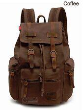 Travel Canvas Sport Rucksack Camping School Satchel Laptop Hiking Bag Backpack Coffee