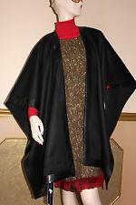 ~ LORO PIANA ®  100% Thick Cashmere Wrap / Cape / Poncho w/Leather Trim  $3295