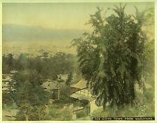 c.1890 JAPAN KIOTO TOWN FROM MARUYAMA GENUINE ANTIQUE ALBUMEN PHOTOGRAPH