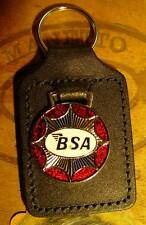 BSA Motorcycle, Leather Stiched Key Tag, Key Ring, Key Fob, UK Made. F/SH