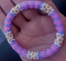 Beaded Rope Bracelet, Womens Hot Pink and Purple, 7.25 peyote seed bead tube