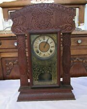 Antique Vintage Decorative Wood Art Clock- Two Keys- Pendulum ~ 14.5� W x 22.75�