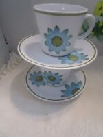 Pair (2) Noritake UP-SA DAISY 9001 Coffee Cup/Saucer Vintage ~EUC~