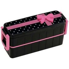 Japanese Bento Lunch Box Slim Black and Pink Bow