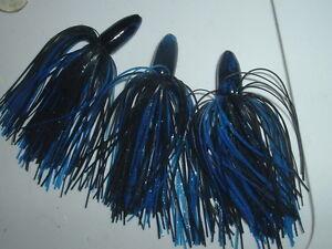 Yank Tackle Co. Punch Jig Lot Of 3 Slip Jig Bait Black & Blue Sparkle 9/16 Oz.