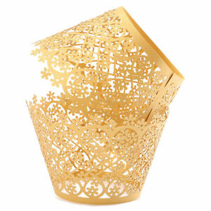 25 PC Disney Gold Lace Cupcake Wrappers / Liners Set (standard) - from Bakell