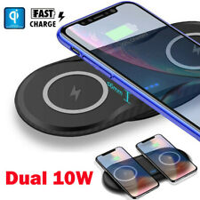 QI Dual Wireless Charger 10W Fast Charging Pad Mat For Samsung S7 S10+ iPhone XS
