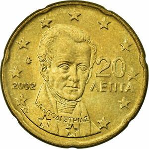 [#700792] Grèce, 20 Euro Cent, 2002, SUP, Laiton, KM:185