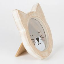 Shabby Chic Cat Face Rustic Wood Free Standing Photo Frame by Sass & Belle