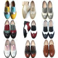 Womens Leather Brogue shoes Colorful Carved Lace Up Hollow Out Shoes Oxfords New