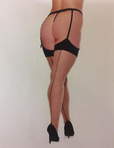 Plus Size Beautiful Seamed Stockings with Contrast Point Heels and Thigh Welts