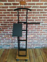 Black Metal & Wood Wheeled Suit Valet Stand Clothes Rack Home or Store Display