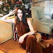 NEW Anthropologie Kristinit golden brown Velvet Halter Ruffle Crop Jumpsuit M