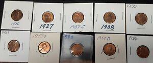 Lot Of Mixed Bu Lincoln Cent Uncirculed 1936-1956 Mixed Mints