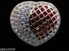 Signed Swan Swarovski Square Red Crystal Heart & Pave Brooch Pin