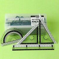 4pcsset Zeichengarnitur Lineal + 2 Geo-Dreieck + Lineal Z9Z4 Winkelmesser 1 W8L4