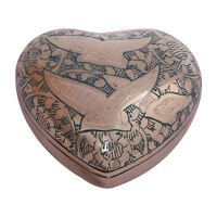 Going Home Doves Teal Small Heart Keepsake Urn Ashes, Unique Funeral Urns