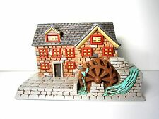 Vintage 1980 Ceramic Grist Mill Wheel USA Christmas Village Large House Train RR