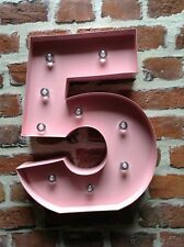 LED CARNIVAL BIRTHDAY CELEBRATION ANNIVERSARY LARGE 33CM PINK METAL NUMBER 5
