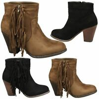 Amelia Womens Mid Block Heel Zip Up Tassel Ankle Boots Ladies Shoes Style Size
