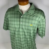 Amen Corner Masters Polo Shirt Pima Cotton Golf Green Plaid Short Sleeve Large