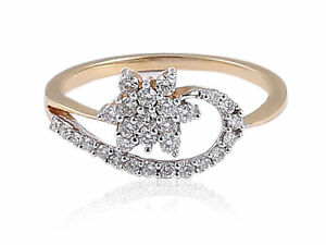 Pave 0.35 Cts Round Brilliant Cut Natural Diamonds Wedding Ring In 750 18K Gold