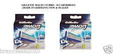 Gillette Mach3 Mach 3 Turbo Mens Shaving Blades for Razor - 16 Cartridges New