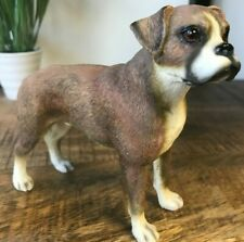 More details for boxer, leonardo lifelike range, brindle brown and white dog ornament boxed