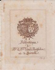 Ancien ex-libris bibliothèque Girod de Montfalcon née de Quirielle