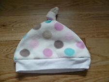George Baby Girl White Fleece Spotty Knotted Hat Cotton Lining 3 - 6 month