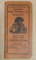 Lancaster Bone Fertilizer Co 1910 antique note book advertising PA animal 38 pg