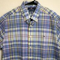Vineyard Vines Mens Long Sleeve Front Button Whale Shirt Large Blue White Plaid