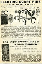 1919 small Print Ad of Electric Scarf Pins Flashlight & The Mysterious Ghost