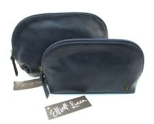 Elliott Lucca Cosmetic Pouch Case Bag ~ Embossed Navy Artisan Dome ~ Set of Two