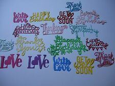 Mixed Die Cut Sentiment Word Phrase Embellishment Pack of 25
