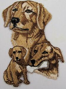 Golden Labrador heat seal embroidered badge