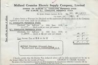 Midland Counties Electric Supply Company, Limited 1938 Stock Receipt Ref 45848