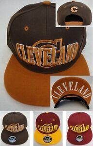 CLEVELAND SNAPBACK HAT FLATBILL Hip Hop Fashion Cap Brown Orange Wine Gold